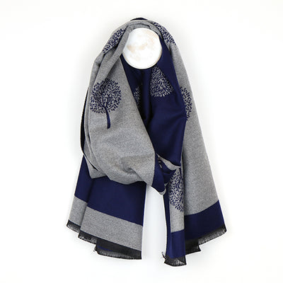 Tree of Life Jacquard Scarf - Navy