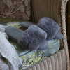 Luxury Alpaca Fur Slippers - Steel