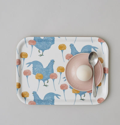 Chicken and Carnation Tray - annabeljames
