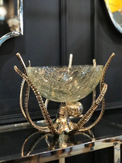 Octopus Stand and Crackle Glass Bowl