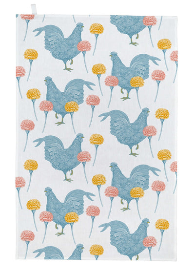 Chicken and Carnation Tea Towel - annabeljames