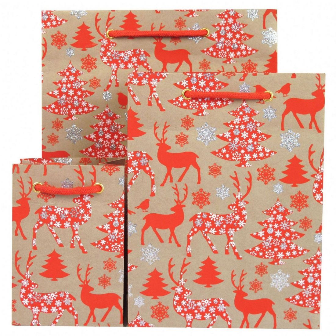 Christmas Gift Bags.Christmas Gift Bag Red Stag