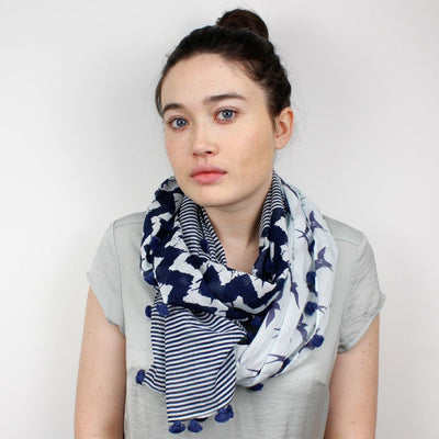 Navy and White Scarf - annabeljames