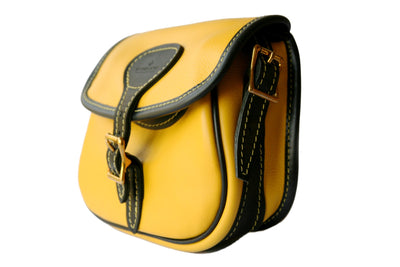 Luxury Leather Cartridge Bag, Yellow