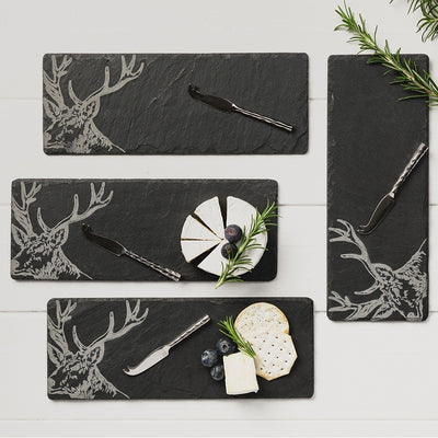Set of 4 Slate Mini Stag Cheeseboard & Knife Set