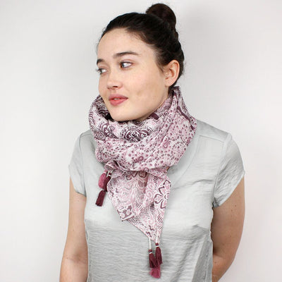 Pink Patchwork Print Scarf - annabeljames