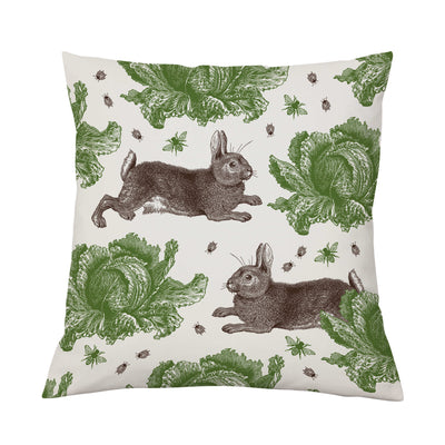 Rabbit and Cabbage Cushion Classic - annabeljames