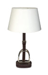 Stirrup Lamp with Brown Leather - annabeljames