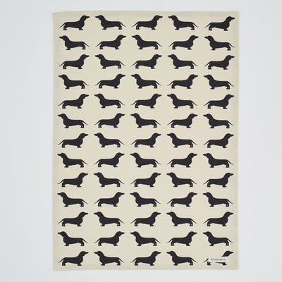 Dachshund Print Tea Towel, Black