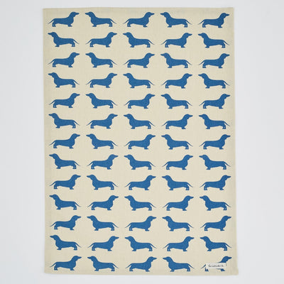Dachshund Print Tea Towel, Blue