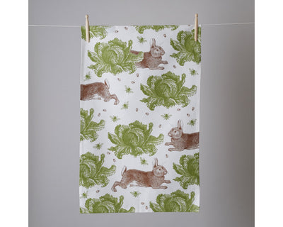 Rabbit and Cabbage Tea Towel - annabeljames