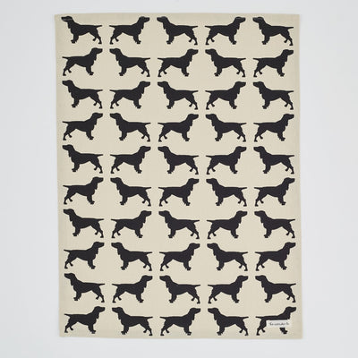 Spaniel Print Tea Towel, Black