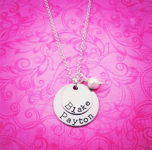 2 Layered Silver Discs w/Pearl Personalized Necklace - My Metal Mojo