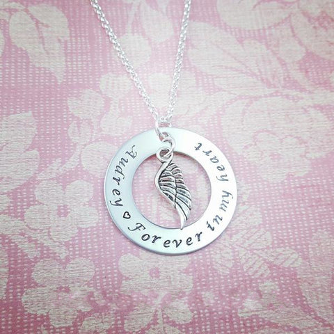 Forever in my Heart Personalized Memorial Necklace - My Metal Mojo