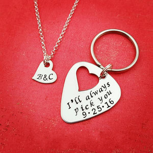 Guitar Pick Keychain & Heart Necklace Personalized Set