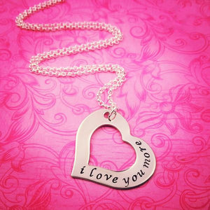 I Love You More Heart Outline Necklace