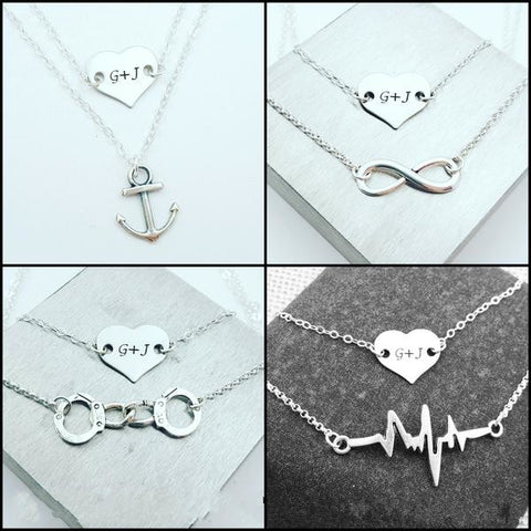 Personalized Heart Necklace & Anchor, Infinity, Handcuffs or Heartbeat Necklace - My Metal Mojo