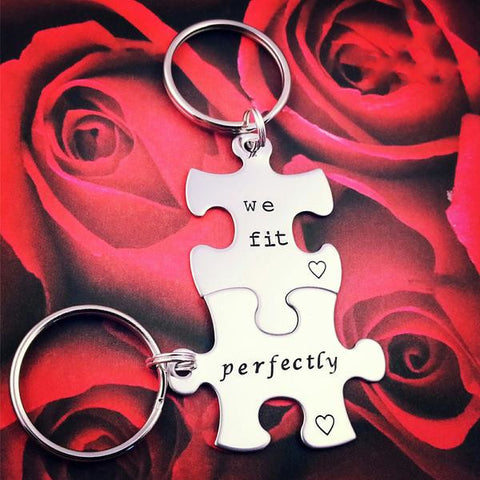 Puzzle Piece Personalized Keychain Set