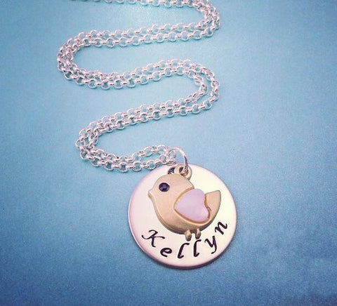 Bird Necklace Personalized with Name - My Metal Mojo