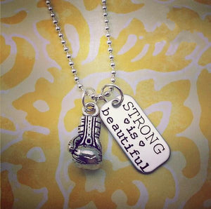 Strong is Beautiful Boxing Necklace - My Metal Mojo