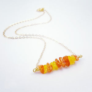 Citrus and Sunshine Crystal Chips Bar Necklace