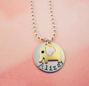 Elephant Necklace Personalized with Name - My Metal Mojo