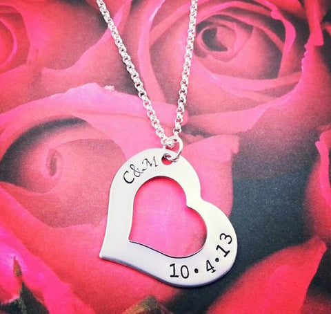 Heart Outline Personalized Necklace - My Metal Mojo