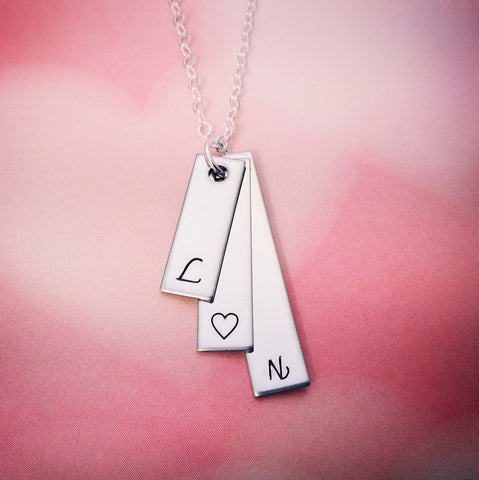 Stacked Silver Tags with Initials