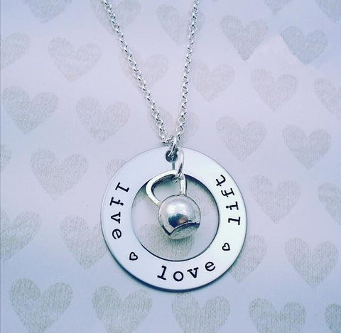 Live Love Lift Necklace with Kettlebell - My Metal Mojo