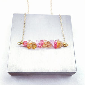 Berries 'n Gold Crystal Chips Bar Necklace - My Metal Mojo