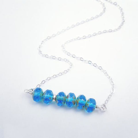 Electric Sapphire Gemstone Bar Necklace - My Metal Mojo