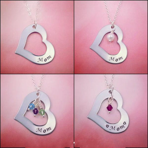 Mom Necklace Personalized Heart - My Metal Mojo