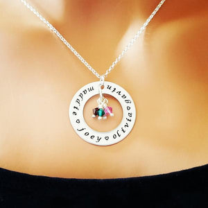 Silver Circle Personalized with Names and Birthstones Necklace - My Metal Mojo
