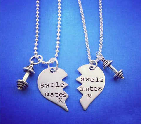 SwoleMates Personalized Necklace Set with Rounded Dumbbells - My Metal Mojo