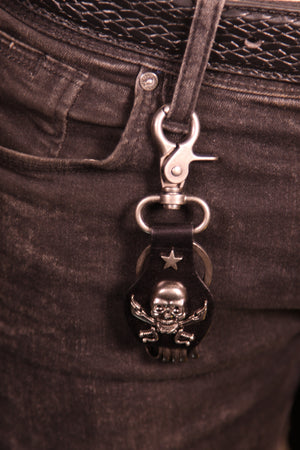 Black Biker Skull Key Holder