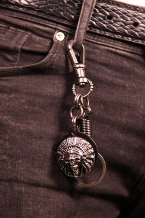 Red Indian Skull Key Chain Black