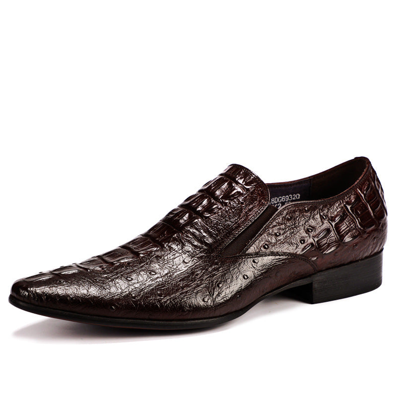 British Crocodile Leather Pointed Shoes