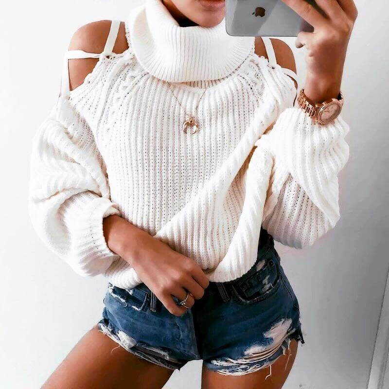 White Lace-up Sweater