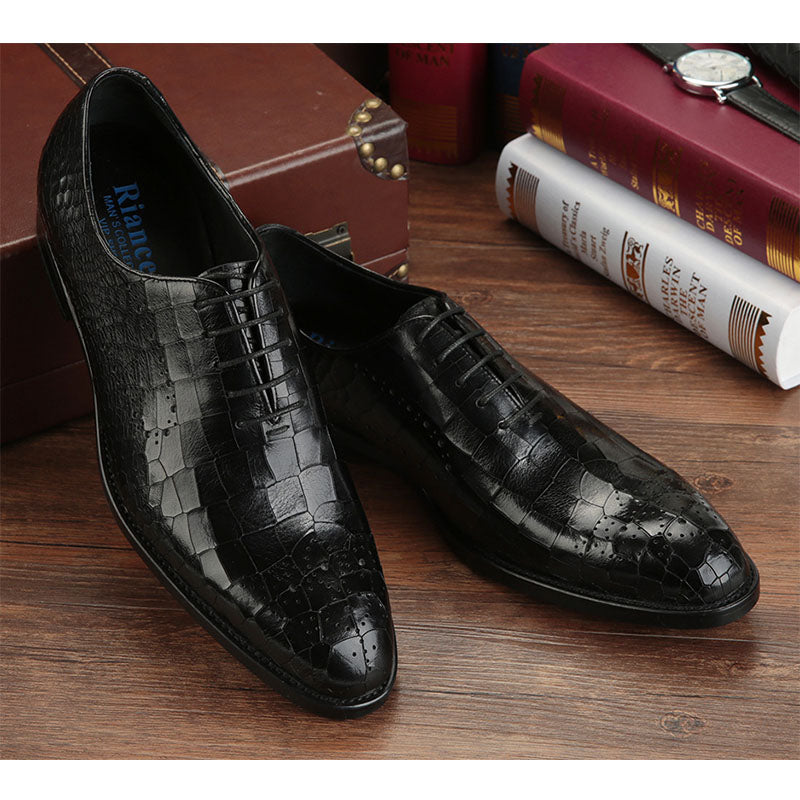 Luxury Crocodile Pattern Leather Brogue Single Shoes