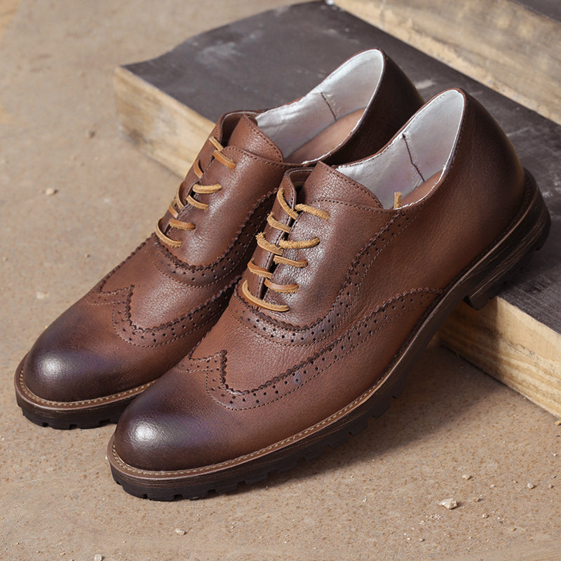 Men Business Brogue Carving Leather Shoes
