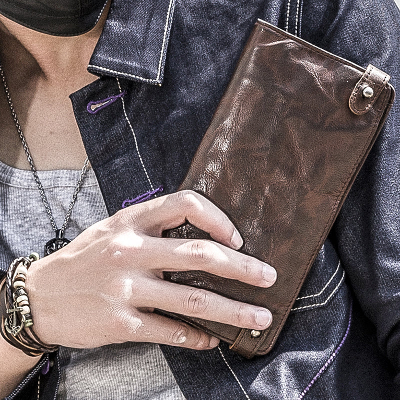 Vintage Suede Leather Multifunction Wallet