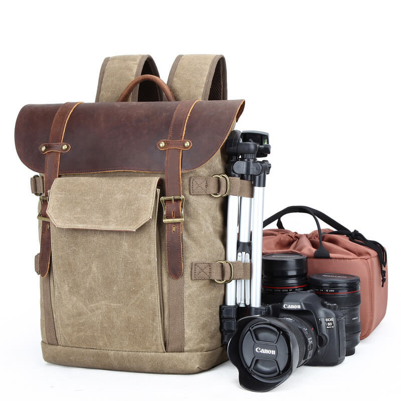 Canvas Leather Casual Waterproof Camera Travel Backpack