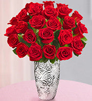 Red Roses and Silver vase