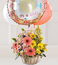 Baby Girl Basket with Balloons