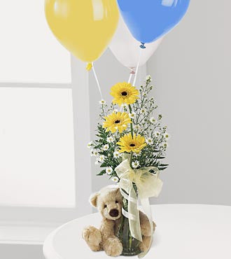 Bear, Flowers and Balloons