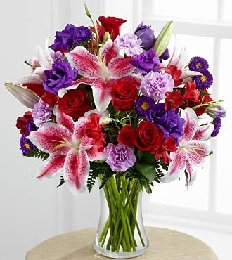 A Beauty Bouquet of Roses and Lillies and more