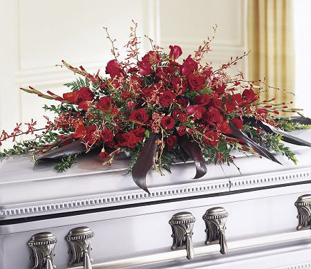 Mixed Red Casket Spray