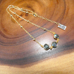 "Faceted Gem Triple Drop Labradorite Pendant Choker 14"" + 2"" Gold Necklace"