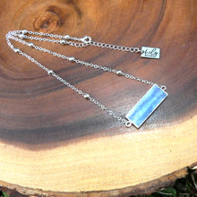 "Load image into Gallery viewer, Modern Kyanite Horizontal Bar Pendant Choker 14"" + 2"" White Gold Necklace"