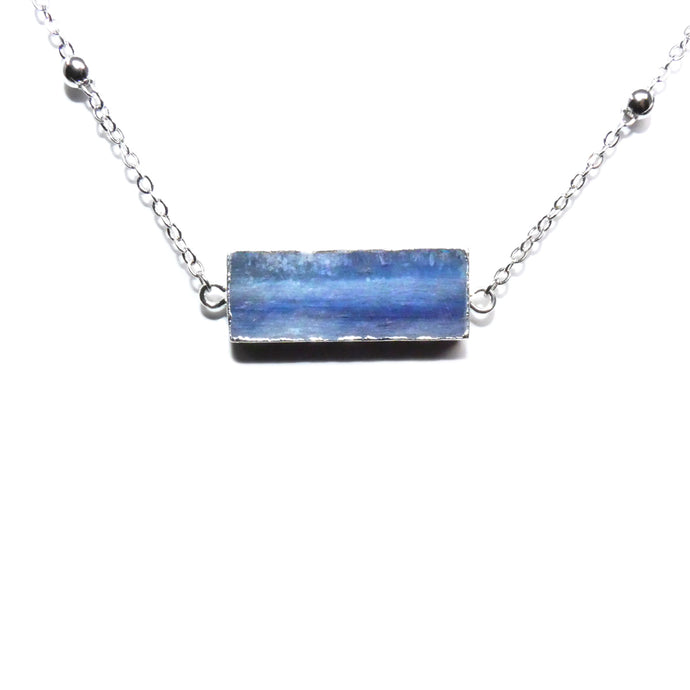 Modern Kyanite Horizontal Bar Pendant Choker 14